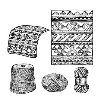 エスニックラグ部族装飾パターンベクトルスケッチスタイルペルーアルパカラグ手作り