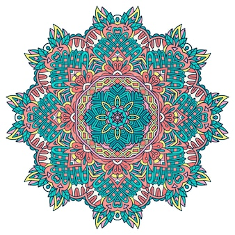 Ethnic seamless doodle flowers design. festive colorful mandala. floral round ornament
