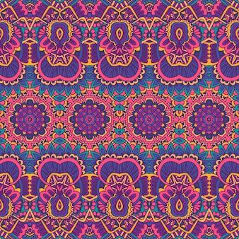 エスニックなシームレスパターン。部族の背景。アステカとインド風のヴィンテージプリント。