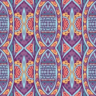 エスニックなシームレスパターン。部族の背景。アステカとインディアンスタイル、ヴィンテージプリント。