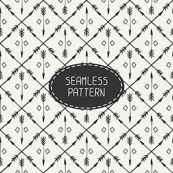 Ethnic seamless pattern with arrows. hand drawn doodles