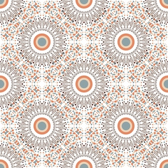 Ethnic seamless pattern with circle ornament. fabric or textile texture. vector repeating design.