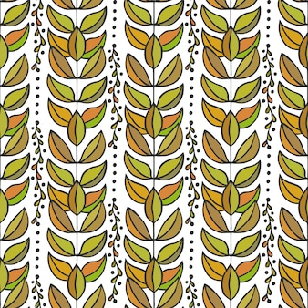 Ethnic seamless pattern with colorful stylish leaves. endless autumn texture
