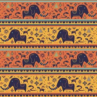 Этническая бесшовный фон с каракули орнаментами