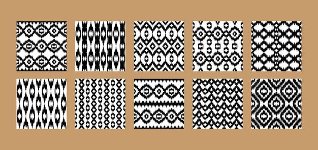 エスニックなシームレスパターンは、抽象的な素朴な繰り返しの背景を設定します