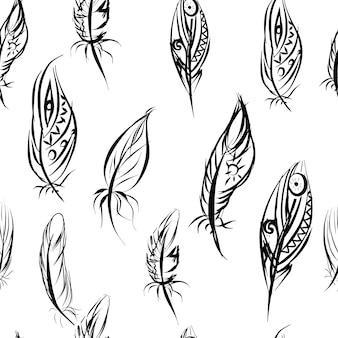 깃털과 민족 원활한 벡터 패턴입니다. 기본 스타일의 민족 원활한 패턴입니다.