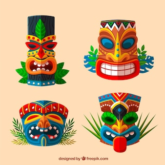 Ethnic set of fun tiki masks