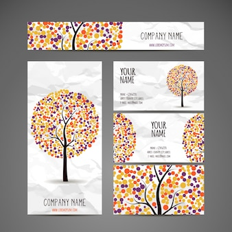 Ethnic stationery set with colorful tree design