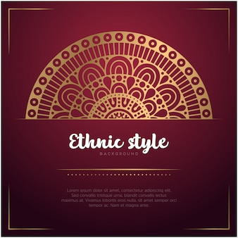 Этнический стиль фона с мандалы и текстового шаблона, красный и золотой цвет