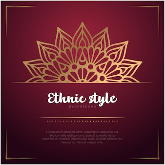 Ethnic style background with mandala and text template, red and golden color