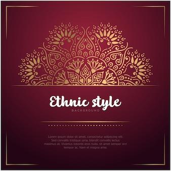 Этнический стиль фона карты с мандалы и текстового шаблона, красный и золотой цвет