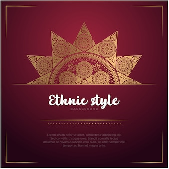 Ethnic style card background with mandala and text template, red and golden color