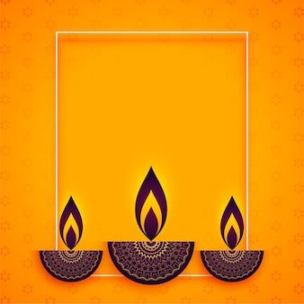 Diya in stile etnico per il festival di diwali