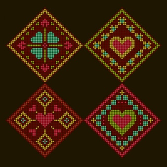 Ethnic style romantic colorful embroidered background. rhombus cross-stitch pattern.
