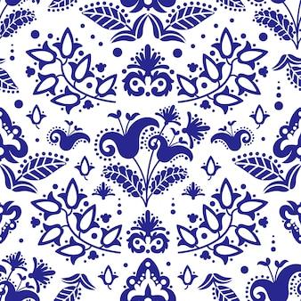 民族タタールブルー飾りシームレスパターン図