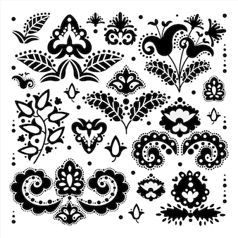 Ethnic tatar oriental doodle retro ornament elements vector illustration set for print