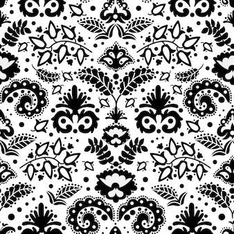 エスニックタタール装飾品東洋落書き民俗シームレスパターンベクトルイラスト印刷布とデジタルペーパー