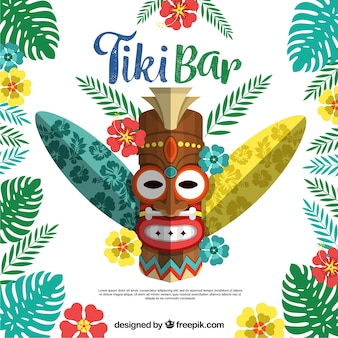 Ethnic tiki mask with plants and surf boards