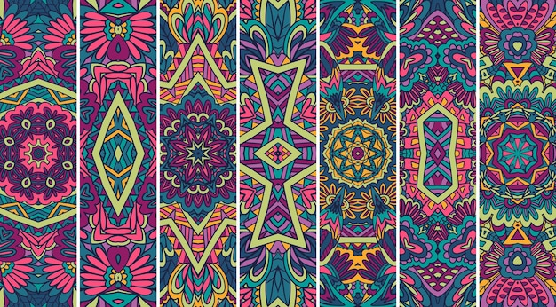 Ethnic tribal banner ornamental background collection