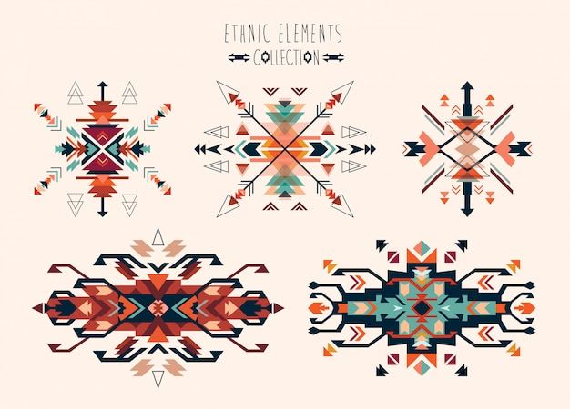 Ethnic tribal elements collection vector design