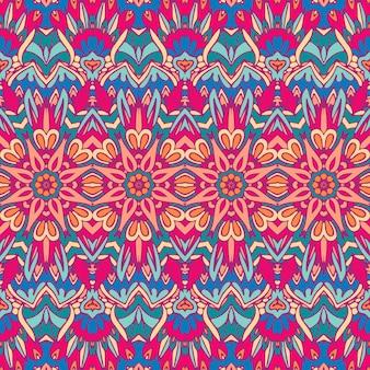 ファブリックの民族部族のお祝いパターン抽象的な幾何学的なカラフルなシームレスパターン装飾
