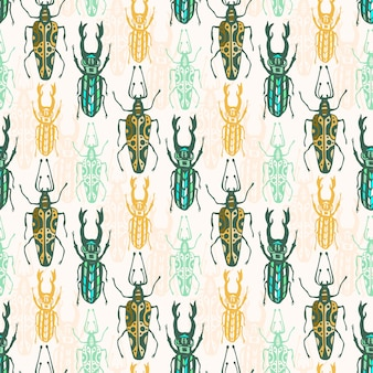Ethnic tribal seamless pattern with insects. vector hipster print. fashion fabric design