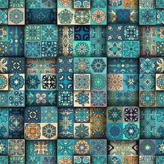 Ethnic tribal tile patchwork seamless pattern.