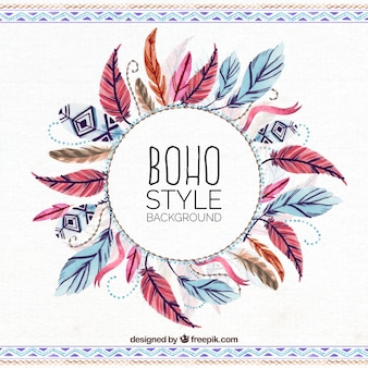 Ethnic watercolor feathers background