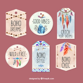 Ethnic watercolor labels