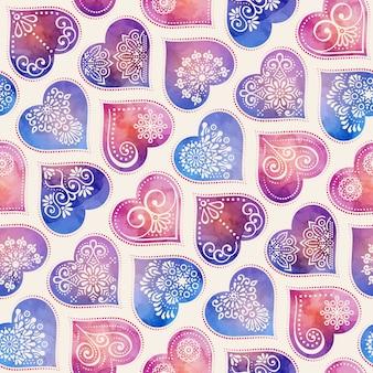 エスニックスタイルのマンダラと装飾と水彩のシームレスなパターン