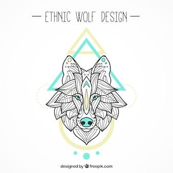 Sfondo decorativo lupo etnico con figure geometriche