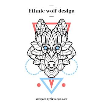 Sfondo testa testa lupo etnico con figure geometriche