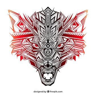 Ethnic wolf head with reddish tones