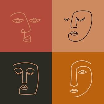 Этническая женщина линии искусства иконы. современный минимализм репродукции. esp10 вектор.