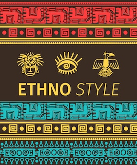 Ethno banner with tribal symbols