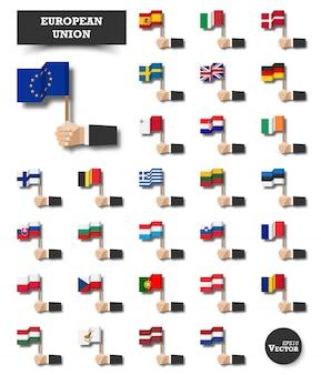 欧州連合 。 euの旗と会員のセット。