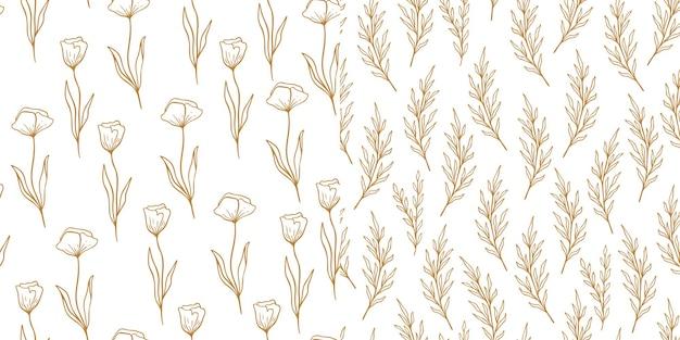 ユーカリとポピーのパターンがラインスタイルに設定されています。花のオリーブのシームレスな手描きの飾り。オリーブの枝、花ポピーのモダンな落書きリピートパターンコレクション。かわいい壁紙、ベクトルイラスト