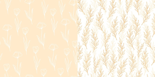 ユーカリとポピーのパターンがラインスタイルに設定されています。花のオリーブのシームレスな手描きの飾り。オリーブの枝、花ポピーのモダンな落書きリピートパターンコレクション。ベクトルイラスト、ピンクの背景