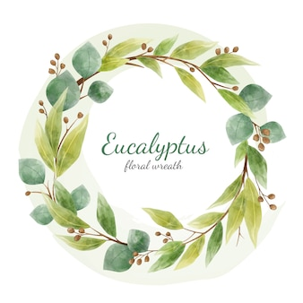Eucalyptus floral branches and leaves round wreath. cards design element isolated on white. watercolor style