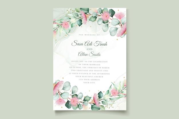 ユーカリの花の結婚式の招待カードセット