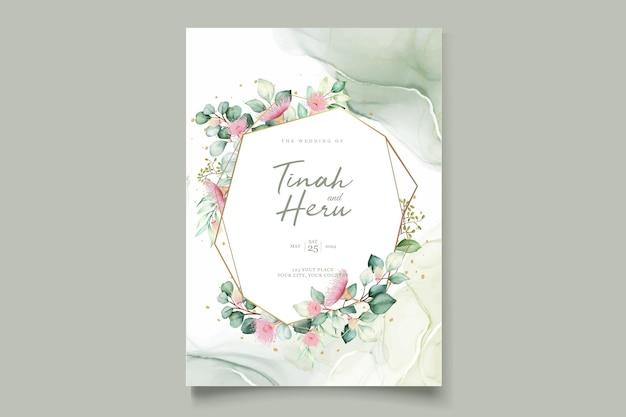 Eucalyptus flower wedding invitation card set