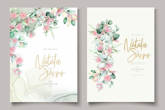Свадебное приглашение с цветком эвкалипта