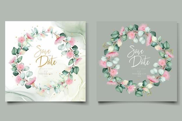 Carta di invito a nozze fiore di eucalipto
