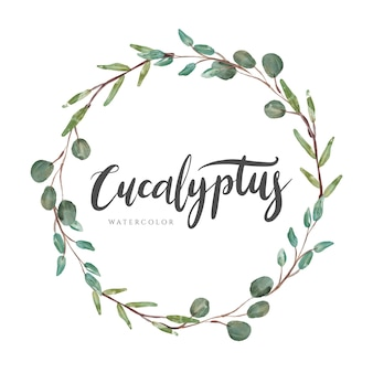 Eucalyptus laurel watercolor wreath