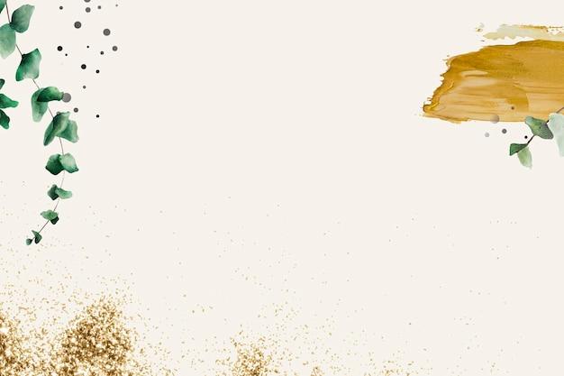 Узор листьев эвкалипта на бежевом фоне