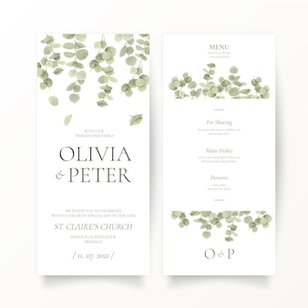 Eucalyptus leaf wedding stationery template