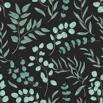 유칼립투스 잎 손으로 그린된 벡터 완벽 한 패턴입니다. 천연 가지, 상록 나뭇가지 장식 질감. 검은 배경에 껌 나무 단풍입니다. 식물 포장지, 벽지, 섬유 디자인.