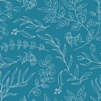 ユーカリは線形ベクトルのシームレスなパターンを残します。エキゾチックなハーブの装飾的な質感。植物の枝、葉の輪郭のイラストと小枝。植物の壁紙、テキスタイル、包装紙のデザイン。