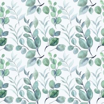 Modello senza cuciture dell'acquerello delle foglie di eucalipto