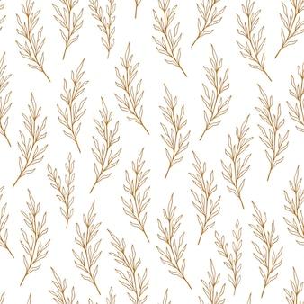 ラインスタイルのユーカリ柄。花のオリーブのシームレスな手描きの飾り。オリーブの枝とモダンな落書きの繰り返しパターン。ユーカリかわいい壁紙、パステルカラーのベクトルイラスト